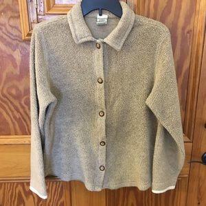 Women's LL Bean fuzzy fleece shirt jacket size M
